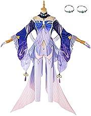Genshin Impact Cosplay Kostuum, IKAO Sangonomiya Kokomi Cosplay Outfit Kostuum Set, Anime Game Party Halloween Cosplay Kostuums voor volwassenen en kinderen, XS
