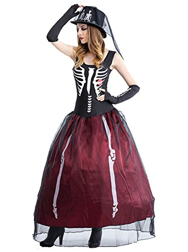 Plus Size Skeleton Zombie Costumes (Women's Skull Dress Halloween Adult Halloween Ghost Bride Skeleton Costume)