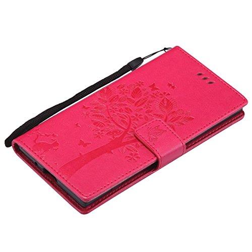 LEMORRY Funda Sony Xperia XZ1 / F8342 Funda Estuches Bolsa Piel Cuero Billetera Slim Cover Protector Magnética Estar TPU Silicona Carcasa Tapa para Sony Xperia XZ1, Árbol Suerte (Púrpura Ligera) Rosado