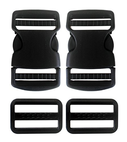 (Plastic Side Release Buckle 1-1/2 Inches Webbing Strap Clasp Black Pack of 2)