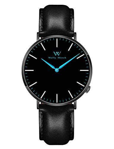 Water Resistant Sapphire Crystal Watch - Welly Merck Men's Luxury Watch Minimalist Swiss Movement Sapphire Crystal Analog Wrist Watch 20mm Italy Genuine Leather Interchangeable Black Strap,5 ATM Water Resistant (Blue)