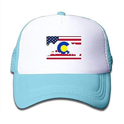 roylery Colorado Patriotic American Flag Child Baby Kid Adjustable Trucker Hat Summer Snapback