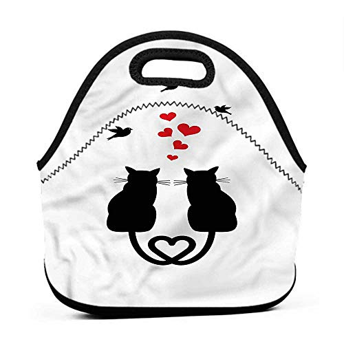 Travel Case Lunchbox with Zip Love,Cats in Love Heart Tail,pottery barn lunch bag for kids