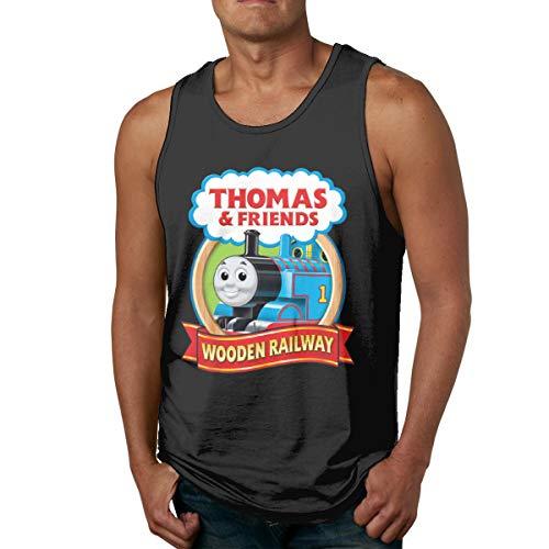 ChinbelBay Men's Thomas The Tank Engine & Friends Summer Sport Sleeveless Tank Tops Tees Black