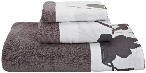 Popular Bath Lorraine 3-Piece Towel Set, White/Grey