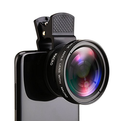 Phone Camera Lens 0.45X Wide Angle Lens and 15X Macro Lens for iPhone X 8/7/6/5,iPad Android Smartphone Mobile phone (BLACK) (Iphone Camera Lens)