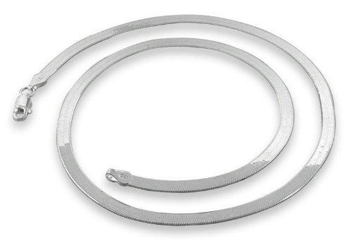 BONE FLAT 5.5mm .925 Italian Sterling Silver Flex Magic Herringbone Chain Bracelets Nickel Free, sizes 7 - 30 inch (16 Inches)