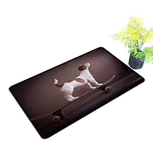 (gmnalahome Waterproof Indoor Door Mat Jack Russell Terrier on a skateboar Environmental Protection Fabric W35 x H23 INCH)