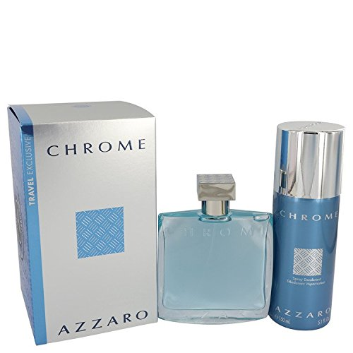 Chrome by Ázzáró for Men Gift Set - 3.4 oz Eau De Toilette Spray + 5 oz Deodorant Spray