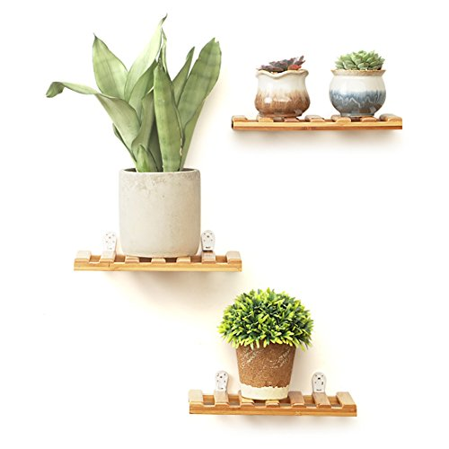 Natural Tier Three - Rerii Wall Display Shelves, 3-Tier Natural Bamboo Flower Potted Plant Stand, Floating Shelf for Home, Office - 9.8