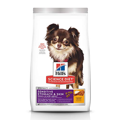 Hill's Science Diet Dry Dog Food, Adult, Small & Mini, Sensitive Stomach & Skin, Chicken Recipe, 4 LB Bag (Puppy Food For Sensitive Stomachs Large Breed)