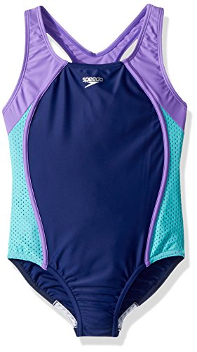 Speedo Girls Mesh Thick Strap One Piece, Blue Harmony, Size 10