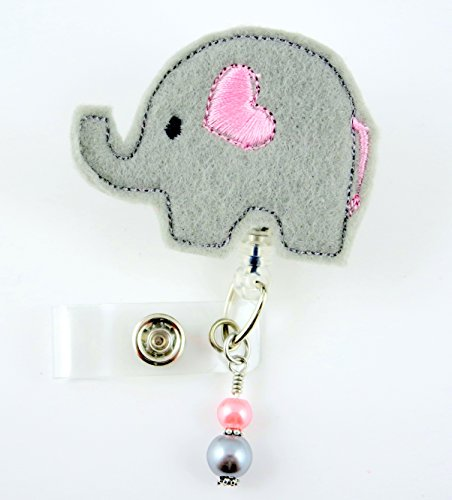 Grey Elephant w/ Pink Heart - Nurse Badge Reel - Retractable ID Badge Holder - Nurse Badge - Badge Clip - Badge Reels - Pediatric - RN - Name Badge Holder