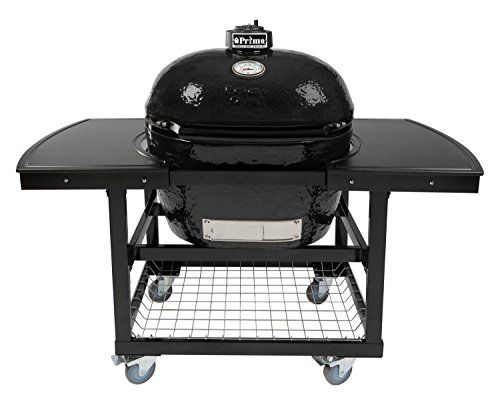 Primo Oval XL 400 Ceramic Smoker Grill On Cart with 2-Piece Island Top by Primo