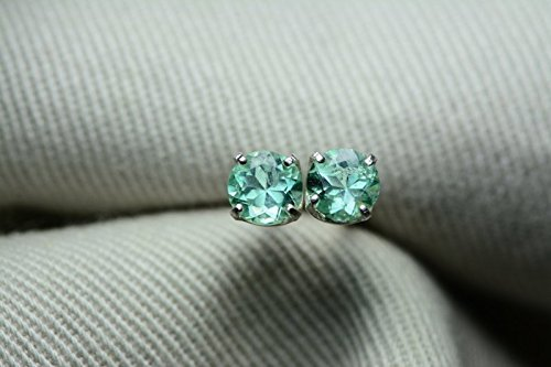Round Colombian Emerald - 0.69 Carat Natural Colombian Round Cut Emerald Stud Earrings In Sterling Silver Appraised