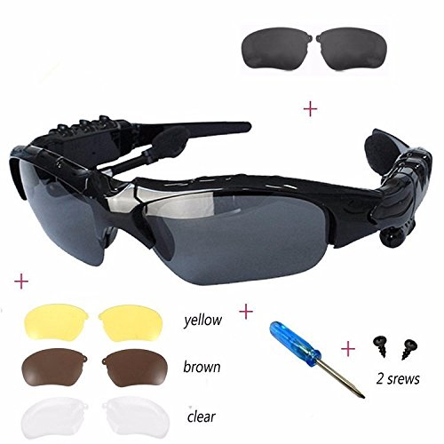 Sports Stereo Wireless Bluetooth 4.0 Headset Telephone Polarized Driving Sunglasses/mp3 Riding Eyes Glasses (transparent) (Bluetooth Glasses With Mp3)
