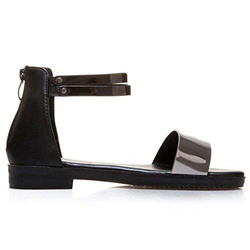 COOLCEPT Mujer Moda Correa de Tobillo Sandalias Plano Punta Abierta Zapatos Cremallera Negro