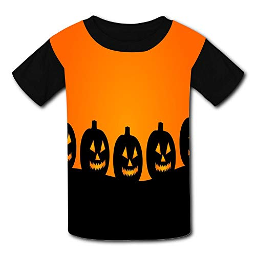 A Row Of Smiling Pumpkins Child Short Sleeve Fashion T-Shirt Of Boys And Girls -