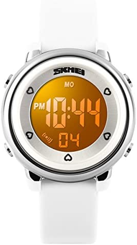 Kids Teens Girls Boys Waterproof Sports Digital Watches Timer with Alarm Stopwatch 7 colorful luminous White