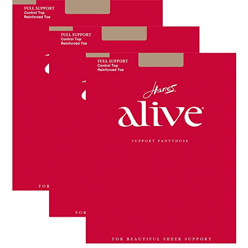 - Hanes Womens Set of 3 Alive Full Support Control Top RT Pantyhose C, Simply Natural