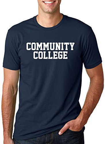 Community College T Shirt Funny Joke Parody Tee With Classic Block style Text (Blue) - Grads College For Presents