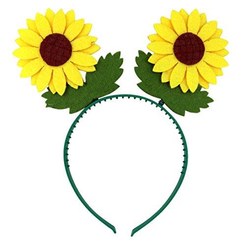 Needzo Womens Yellow Sunflower Headband Bopper Costume Accessory