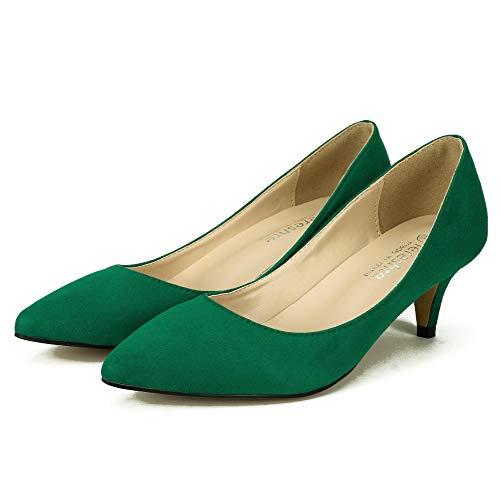 Pointed Kitten Heel Velvet Dress Women's fereshte Party Classic Office Toe Green Pumps A Exw1FqS
