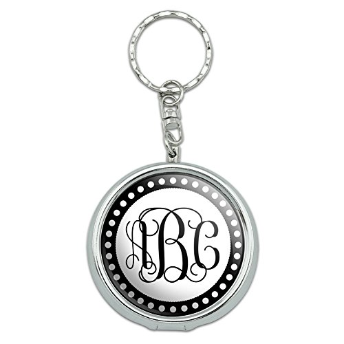 Graphics and More Personalized Custom Portable Travel Size Pocket Purse Ashtray Keychain with Cigarette Holder - Monogram Fancy Font Scalloped Outline by Graphics and More (Image #2)