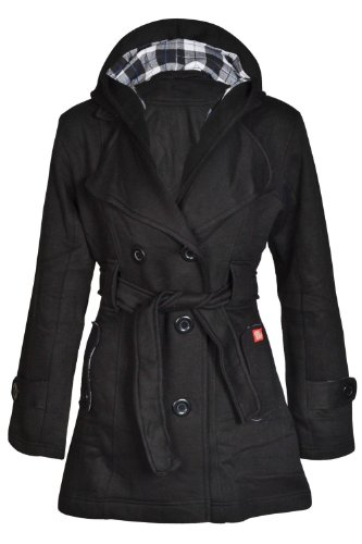 New Womens Hooded Belted Fleece Button Coat Ladies Check Hood Jacket Size 8-14 UK 8 US 4 (Black Check Fleece Jacket)