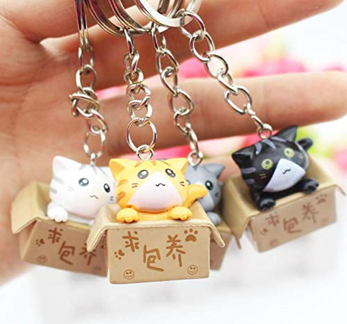 5Pcs Mixed Cartoon Cat Key Rings Chains Pendant Ornament for Bag car Keychain Party Gift SM602 1 PCs by YPT