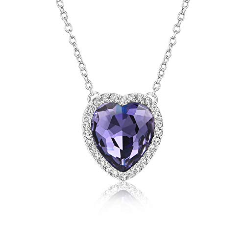 Beyond Love Purple Amethyst February Birthstone Necklace Heart Jewelry Gifts for Women and Girls (Pendant Heart Jewelry Rhodium)