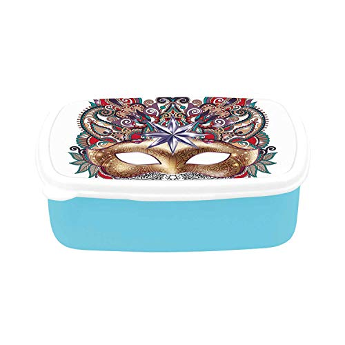 Mardi Gras Simple Plastic Lunch Containers,Venetian Carnival Mask Silhouette with Ornamental Elements Masquerade Costume Decorative for home,7.09
