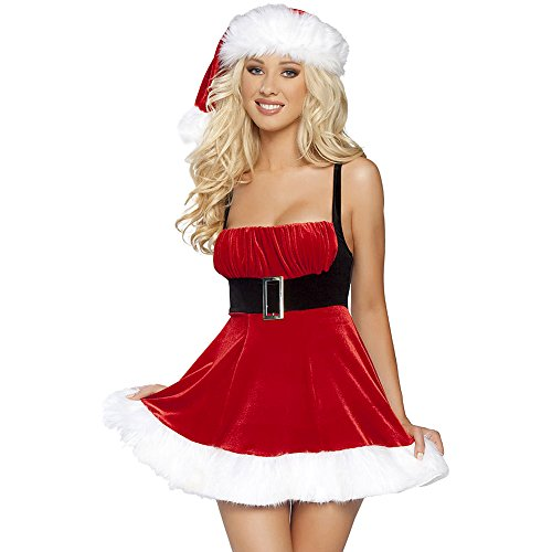 [Lisli Women Sexy Red Santa Christmas Cosplay Fancy Dress Backless Costume Outfit] (Fancy Dress Christmas Costume)