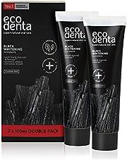 Ecodenta Tandpasta Geactiveerde Houtskool Tanden - Whitening Toothpaste Activated Charcoal- Natuurlijke Zwarte Tandplak Verwijdering Fluoridevrije