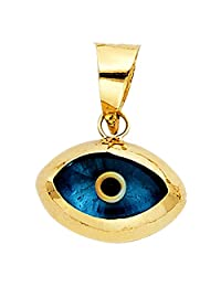 14k Yellow Gold Evil Eye Charm Pendant