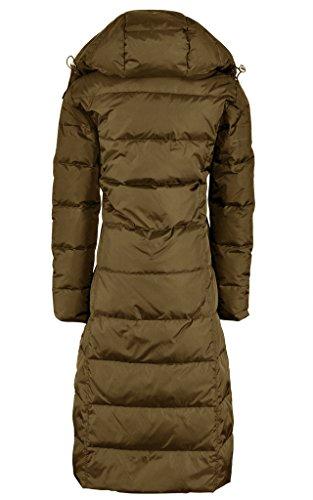 LYXCLS Women's Thick Slim Fit Warm Duck Down Long Down Coat Deep Khaki