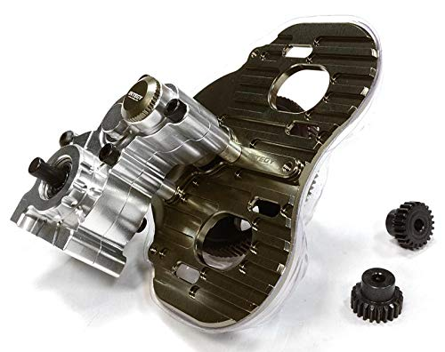 - Integy RC Model Hop-ups C26028SILVER Billet Machined Twin Motor Type Complete Center Gearbox for Axial 1/10 SCX-10