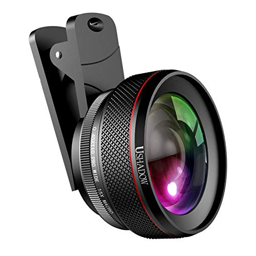 (Phone Camera Lens Kit Pro, 0.6X 110° Super Wide Angle Lens + 15X Macro Lens for iPhone Lens Kit, 2 in 1 Clip on Cell Phone Camera Lens for iPhone, Android, Samsung Mobile Phones and Tablets)