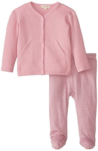 PAIGELAUREN baby Baby-Girls Newborn Thermal Cardigan and Striped Footie Pant, Desert Rose, 9-12 Months