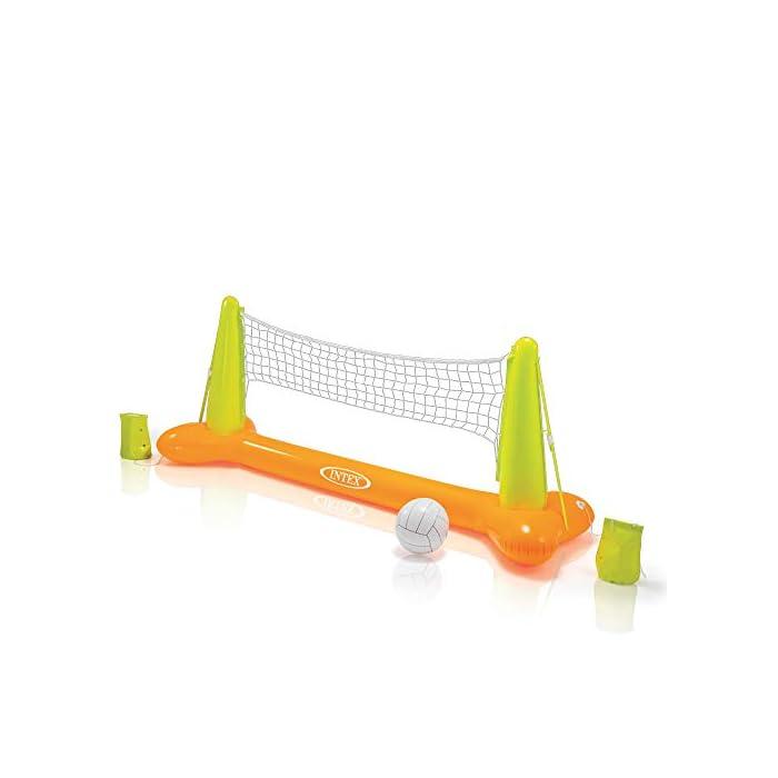 41dkXpyV1AL Juego de voleibol hinchable ideal para piscinas, medidas de la portería flotante: 239 x 64 x 91 cm Incluye una red y un balón de vóley de color blanco, material: vinilo resistente y color: naranja/verde Incorpora bolsas para colocar peso para mayor sujeción