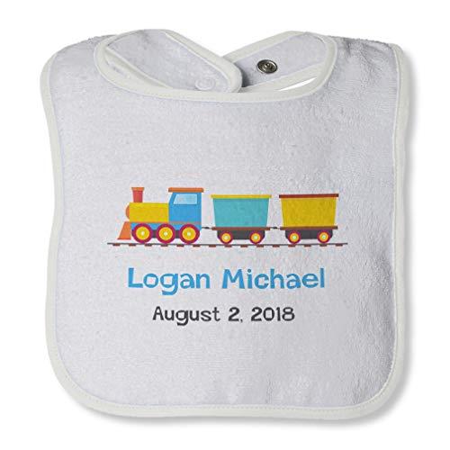 Personalized Custom Baby Shower Train Toy Cotton Boys-Girls Baby Terry Bib Contrast Trim - White, One Size
