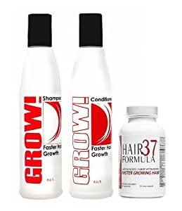 New Advanced Hair Growth Vitamins Hair Formula 37 for Faster Growing Hair 30 day supply with Grow! Shampoo and Conditioner