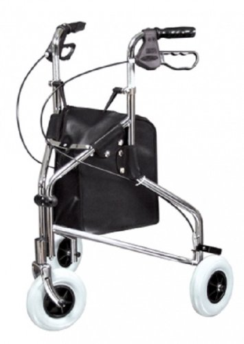 Lumex Sure-Gait II Three-Wheeled Steel Rollator Walker Chrome 609101A