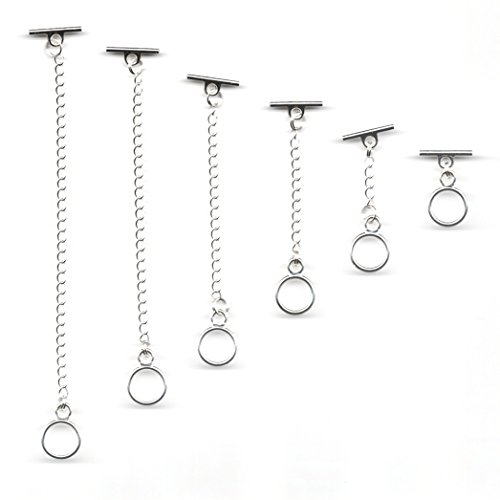KaShDa Set of 6 Silver Plated 14MM Toggle Bar Necklace Extenders 1