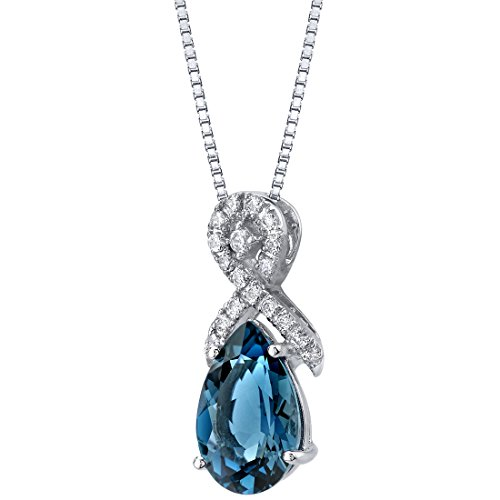 White Topaz Ribbon - Genuine London Blue Topaz 14K White Gold Pear-Shaped Ribbon Pendant