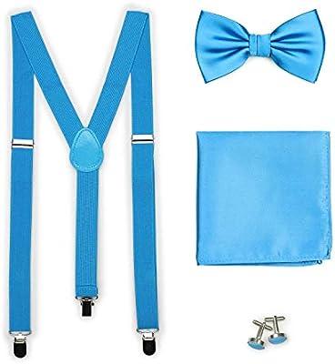 Bows-N-Ties Mens Set of Matching Solid Color Suspender Adjustable Length Cufflinks Necktie Pocket Square