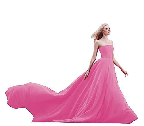 JoyVany Women Strapless Prom Dresses Wedding Dress Long 2018 Formal Gowns Pink Size ()
