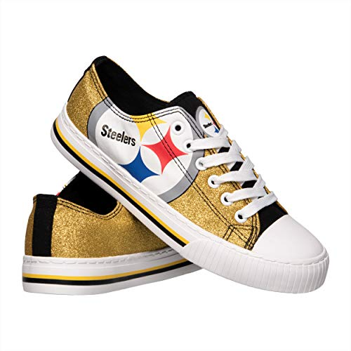 bd581aa012fed3 FOCO NFL Pittsburgh Steelers Womens Glitter Low Top Canvas Shoesglitter Low  Top Canvas Shoes
