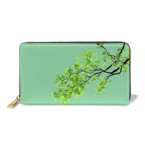 Women Leather Wallet Zipper Around Clutch Purse Waterproof Card Holder Slim Handbag - Green Tree Leaf ()