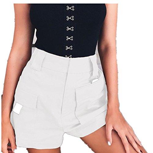Poches de Haute avec Blanc Vintage FuweiEncore Shorts Taille Pantalons Mini Rtro Femme Loisir PEvRWvzBwq